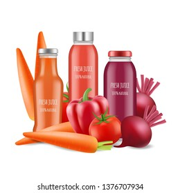 Vegetables juices vector illustration. Realistic juice bottles and vegetables isolated on white background