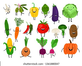 Vegetables for kids. Cartoon vegetables eating for child, funny cute veggies characters, kawaii healthy laughing carrot smiling pumpkin, vector icons set