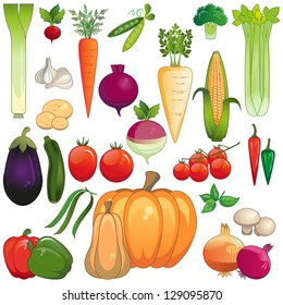 Vegetables. Large icon set of fresh vegetables. Each on own layer. Isolated