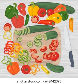 Vegetables on a table and cutting board, whole and sliced, knife next to it. Bell peppers, cucumbers, tomatoes. Vector clip-art.