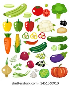 Vegetables on a white background isolated. Vector illustration