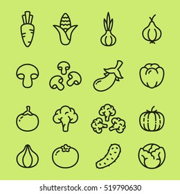 Vegetables Organic Vegetarian Food Minimalistic Flat Line Outline Stroke Icon Pictogram Symbol Set Collection