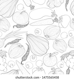 Vegetables outline hand draw seamless pattern on white. Repeater background with veggies in sketch style.