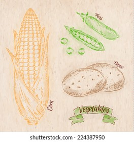 Vegetables painted in different colors in a country style corn, peas, potatoes