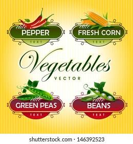 Vegetables. Peas, pepper, corn, beans