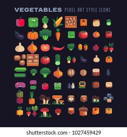 Vegetables pixel art icons set mushrooms and nuts isolated vector illustration. Design for stickers, logo, mobile app. Video game assets 80s 8-bit sprite sheet.