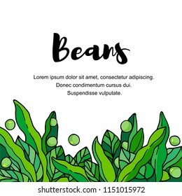 Vegetables. Pods of green bean, soybeans with leaves. Vector hand drawn illustration cartoon doodle flat. Cheerful illustration for label design and packing kidney beans, soybeans, green peas.