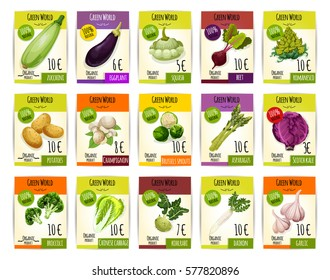 Vegetables price cards. Vector  zucchini, eggplant, beet and romanesco,broccoli, potato and champignon, brussels sprouts and asparagus, scotch kale and chinese cabbage, kohlrabi, daikon and garlic