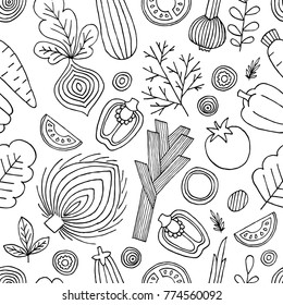 Vegetables seamless pattern. Linear graphic. Vegetables background. Scandinavian style. Healthy food. Vector illustration