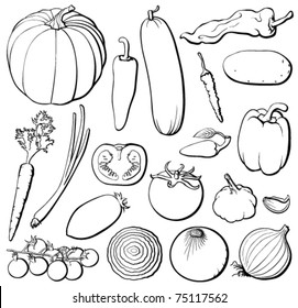 Vegetables set, black and white, each in separated layer. Vector illustration.