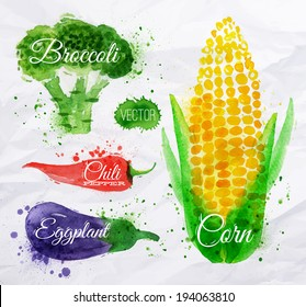 Vegetables set drawn watercolor blots and stains with a spray corn, broccoli, chili, eggplant