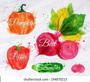 Vegetables set drawn watercolor blots and stains with a spray pumpkin, beet, pepper, cucumber