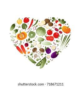 Vegetables in shape of heart. eps 10