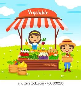 vegetables shop stall, farmers market, cartoon characters vector, Local market farmer vegetables
