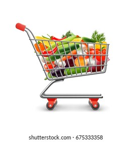 Vegetables shopping realistic concept with shopping cart and goods vector illustration