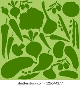 vegetables silhouette on green seamless pattern