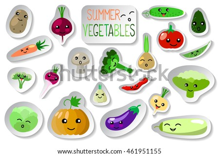 vegetables smiles vector icons on white stock vector royalty free