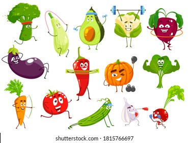 Vegetables sportsmen, vector broccoli, squash and avocado, cauliflower and beetroot. Eggplant, chili petter and pumpkin, spinach, carrot and tomato with cucumber, garlic and radish cartoon veggies
