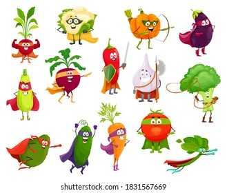 Vegetables super heroes, vector broccoli, squash and avocado, cauliflower and beetroot. Eggplant, chili pepper and pumpkin, spinach, carrot and tomato with cucumber, garlic and radish cartoon veggies