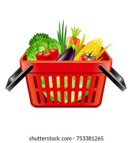 vegetables in supermarket basket isolated photo-realistic vector illustration