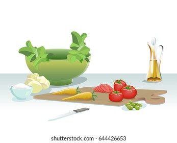 Vegetables table. Salad process. Isolated ingredients.