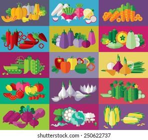 vegetables tags set