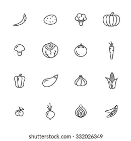 Vegetables thin line icons