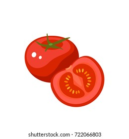 Vegetables. Tomato, whole fruit and half. Vector illustration cartoon flat icon isolated on white.