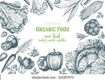 Vegetables top view frame. Farmers market menu design. Organic food poster. Vintage hand drawn sketch vector illustration. Linear graphic.