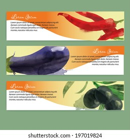 Vegetables vector background. Banner design with a chilli, olives and aubergine
