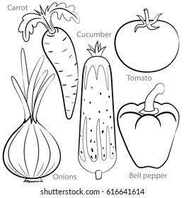 Vegetables. Vector black and white drawing of food. Carrot, onion, tomato, cucumber, pepper.