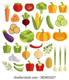 Vegetables vector flat icons set
