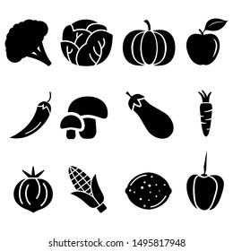 Vegetables vector icons set. Fruits illustration symbol collection.