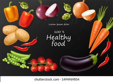 Vegetables Vector realistic. Eggplant, tomatoes and onions banner. Vegetarian dinner menu. Healthy food template poster