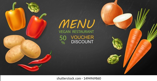 Vegetables Vector realistic. Eggplant, tomatoes and onions banner. Vegetarian dinner menu. Healthy food templates poster