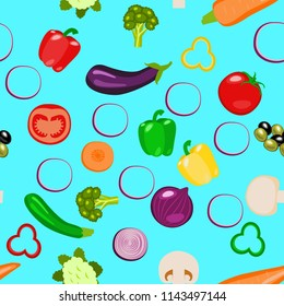 Vegetables - whole and sliced. Zucchini, carrot, onion, tomato bell pepper mushroom eggplant broccoli Seamless Pattern