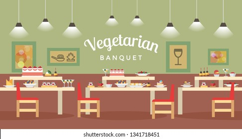 Vegetarian Banquet Hall Flat Banner Illustration. Served Tables with Dishes and Appetizers. Catering Servive for Holiday Celebration. Vegan Cafe, Bistro, Canteen, Restaurant, Eatery Interior