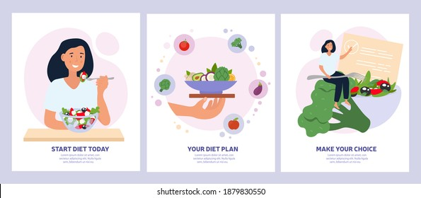 Vegetarian concept with healthy fresh diet showing a woman eating salad, bowl of greens and making a choice. Set of vector illustrations