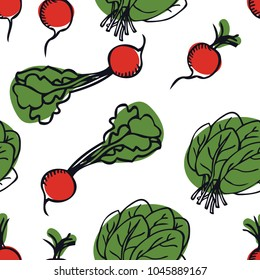 Vegetarian food collection Radish and spinach Seamless pattern