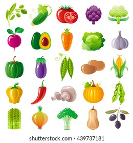 Vegetarian food icon set with organic fruits, vegetables, berries. Macro style icons collection. Tomato icon, pumpkin vegatable, eggplant, brocolli icon, olive branch, carrot vegetable, onion