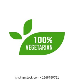Vegetarian food label design. Flat style design of packaging seal, sticker or icon isolated on white background