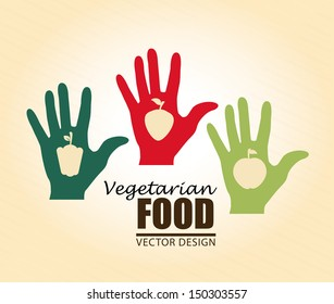 vegetarian food over cream background vector illustration
