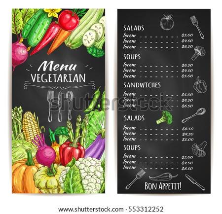 vegetarian food restaurant menu menu board stock vector royalty