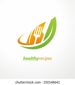 Vegetarian food symbol. Leaf shape with knife and fork in negative space. Creative logo design concept for healthy products.