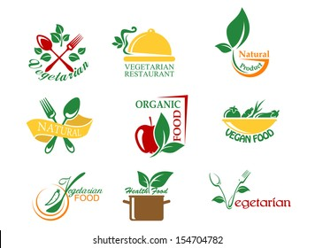 Vegetarian food symbols with fruits and vegetables for design or idea of logo. Jpeg version also available in gallery