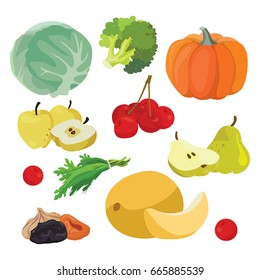 Vegetarian foods: Cabbage, pumpkin, broccoli, melon, greens, cherry, apples, pear, dried fruits. For your convenience, each significant element is in a separate layer. Eps 10