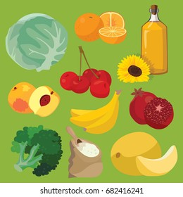 Vegetarian foods: Oil, fruit, vegetables, cereals, berries. For your convenience, each significant element is in a separate layer. Eps 10