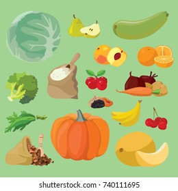 Vegetarian foods: Vegetables, fruits, berries, cereals. For your convenience, each significant element is in a separate layer. Eps 10