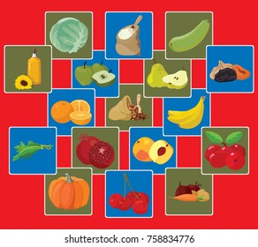 Vegetarian foods: Vegetables, fruits, berries, cereals, oil. For your convenience, each significant element is in a separate layer. Eps 10