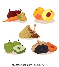 Vegetarian foods: vegetables, peaches, cereal, apples, dried fruit. For your convenience, each significant element is in a separate layer. Eps 10